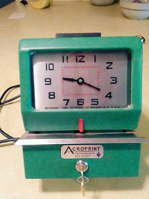 Acroprint Manual Time Recorder Clock Punch W/Keys 125NR4 Card stamp WORKS