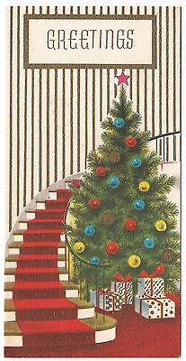 Vintage Greeting Card Decorated Christmas Tree Gifts Staircase Mid-Century