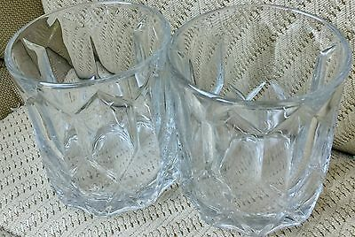 Two CROWN ROYAL WHISKEY Round Clear Carved GLASSES w Embossed Logo on Bottom