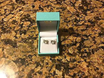 3.6 Ct. Princess Cut Solitaire Stud Earrings Solid 14k White Gold Screw Back