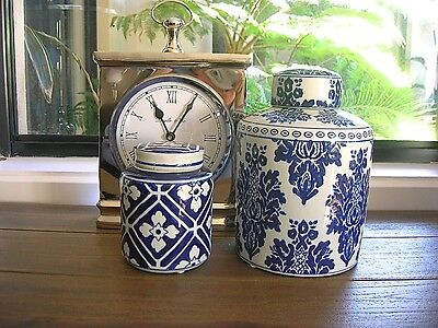 LARGE HAMPTONS CLASSIC STYLE BLUE AND WHITE CERAMIC GINGER JAR 21cm