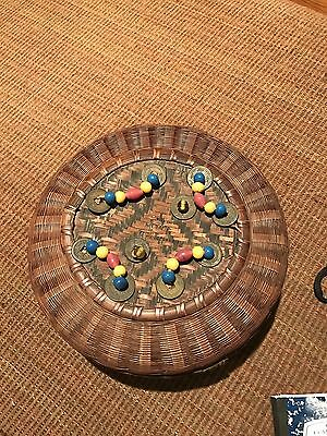 chinese sewing basket with beads and coins