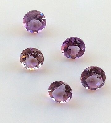 5 Pc Round Cut Shape Natural Light Amethyst 4Mm Faceted Loose Gemstone
