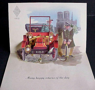 Antique Cars POP-UP Card 1892 PANHARD LEVASSOR, 1910 RENAULT Artwork by V Hancke