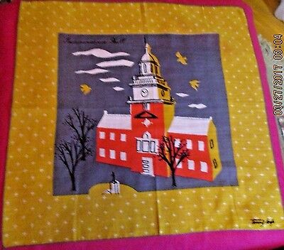 Vintage Tammis Keefe Linen Handkerchief Independence Hall Gold Stars Birds