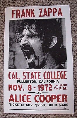 Vintage FRANK ZAPPA  ALICE COOPER Concert Poster Cal State California 11/8/ 1972