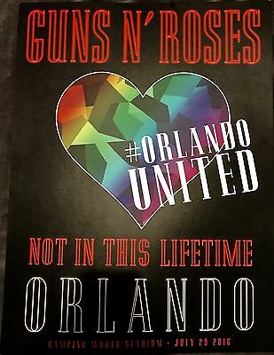 Rare Guns N Roses Orlando, Florida Lithograph Poster Not In This Lifetime 2016