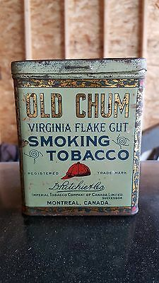 1920's CANADIAN OLD CHUM SMOKING TOBACCO ADVERTISING TIN PIPE USE