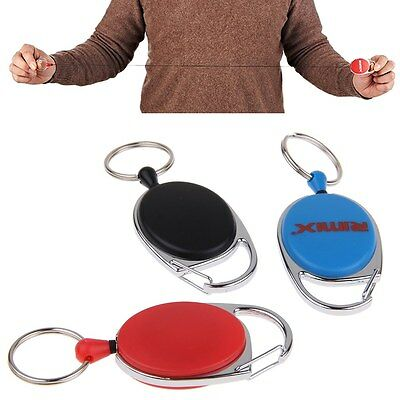 Retractable Key Chain KeyRing Card Badge Holder Steel Recoil Ring Pull Belt Clip