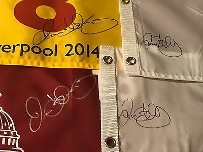 4 Rory McIlroy signed JSA flags 2011 US OPEN 2012 14 PGA CHAMP 2014 BRITISH OPEN
