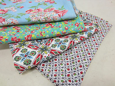 4 Vintage Half Feed Sacks for Quilting- Multi Color  FS#20