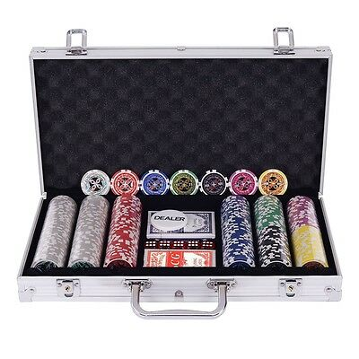 Poker Chip Set 300 Chips Texas Holdem Cards w/ Silver Aluminum Case Gamble Game