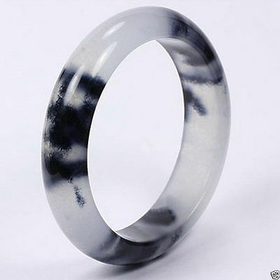 Natural Beautiful Chinese White Black Flowers Jade Jadeite Bangle Bracelet 60mm