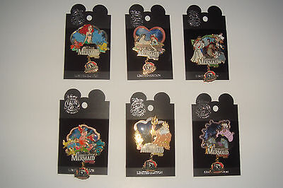 Little Mermaid 15th Anniversary Disneyland Pin Dangle Set of 6 LE 1500 Ariel