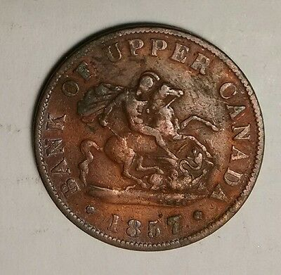 1857 Bank of Upper Canada Large Cent One Half Penny Nice Shape
