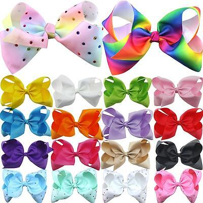 Rhinestone Bow Boutique Girls Hair Accessory Grosgrain Ribbon Knot Clips Hairpin