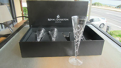 Set Of 4 Royal Doulton Crystal Central Park Flutes, Original Box & Stickers