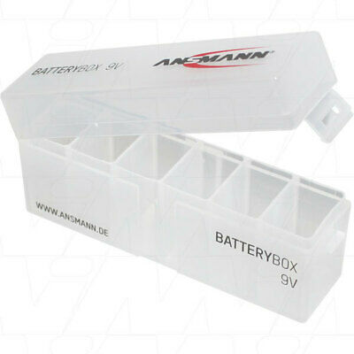 Battery Box 6. Up to 6 x 9V Size Batteries Plastic Storage Container Ansmann