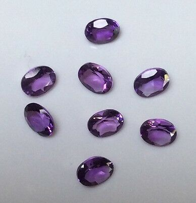 5 PC OVAL CUT SHAPE NATURAL AMETHYST 4MM x 3MM FACETED LOOSE GEMSTONE