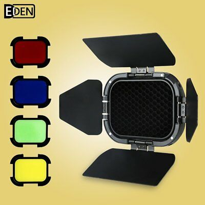 Godox BD-07 Barn Door with Detachable Honeycomb Grid and 4 Color Filters AD200