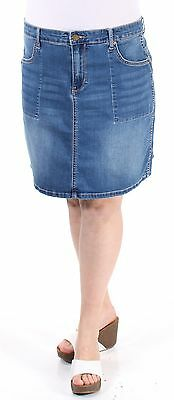 $90 CALVIN KLEIN New Womens 1316 Blue Mini Pencil Skirt Plus 31 Waist B+B