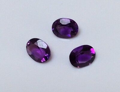 3 PC OVAL CUT SHAPE NATURAL DARK AMETHYST 5MM x 4MM FACETED LOOSE GEMSTONE