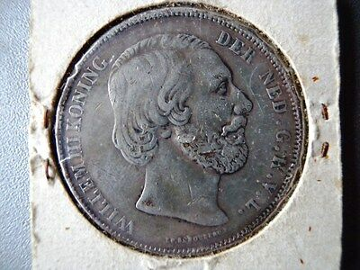1860 Netherlands 2 1/2 Guilden Silver Coin Willem III Konnig