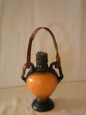 Small Urn-shaped Bottle with Leather Straps