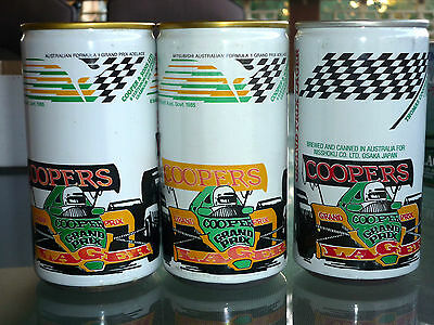 Collectable beercans -  Set of 3 assorted Coopers Lager Grand Prix cans