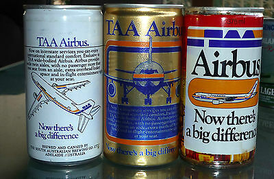 Collectable beercans -  Set of 3 TAA Airbus beer cans (1 steel, 2 aluminium)