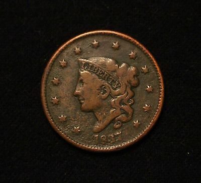 1837 1C Coronet Head Large Cent FINE TOUGH DATE FROM OLD COLLECTION!
