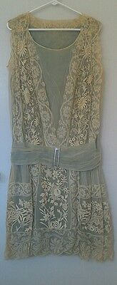 1920 Authentic Antique Blue silk and lace dropwaist Special occasion Dress