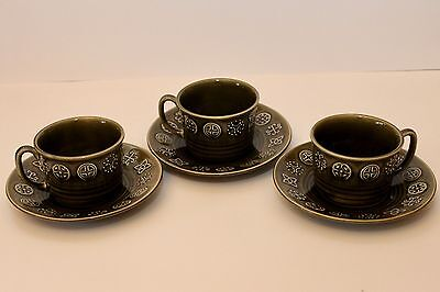 Retro Lord Nelson Pottery 3 x Cup and Saucer - Forest Green - England - VGC