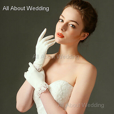 Short Matte Satin Lace Trim Wedding Bridal Gloves Ivory High Quality Have Finger