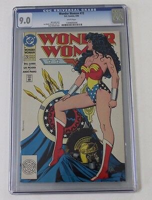 DC Comics Wonder Woman No. 72, 1993,  CGC 9.0 WHITE PAGES Bolland Hot Cover
