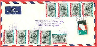 Afghanistan New York WORLDS FAIR Map Pair Strip of 4 X 2 used on cover to USA