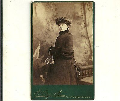 Antique Cabinet Card Photo Lady In Lovely Hat Newmarket Ontario Old Photograph