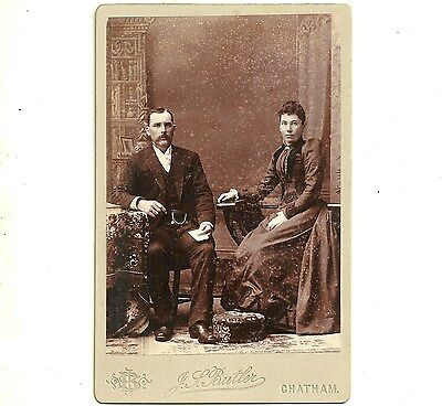 Vintage Cabinet Card Photo Mat And Eva Hinds Chatham Ontario Antique Photograph