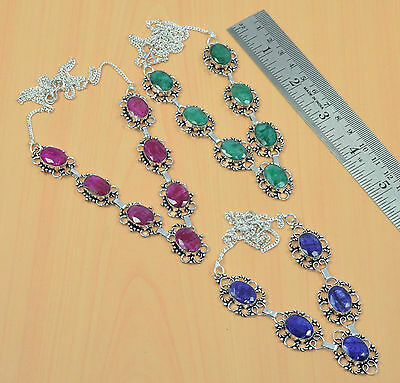 Wholesale 3Pc 925 Silver Plated Faceted Ruby,emerald,sapphire Necklace Lot
