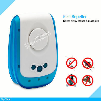 New Ultrasonic Plug In Pest Repeller Mouse Rat Spider Insect Repellent Control