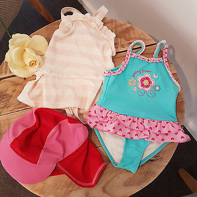 Baby Girl Swimming Summer Bundle One Piece Swim Suit Bathers & Hat Size 0 6-12 M