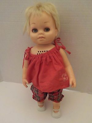Vintage 1970s Mattel Chatty BABY Doll with clothes, no string