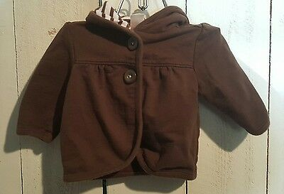 OLD NAVY Infant Coat Size 0-3 Months Brown White Stripes Cotton Babydoll Hoodie