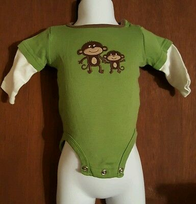 Carters INFANT One Piece Outfit Size 3 Months Monkey, Thermal Sleeves, Green