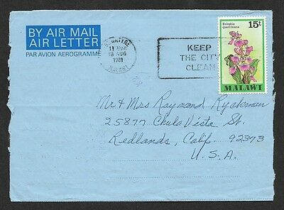 (111cents) Malawi 1981 Keep The City Clean Slogan Aerogramme to USA