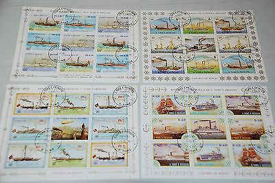 St.Thomas Island Different Ships, Boat Collection - 4 x Minisheets