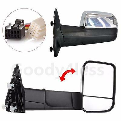 Power Heated LED Puddle Lamp Chrome Tow Mirrors For 2010-15 Ram Side Mirror Pair