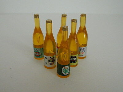 (F12) Dolls House Drink : Six Plastic Bottles Of Beer