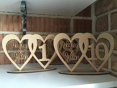 WEDDING ENGAGEMENT BIRTHDAY TABLE NUMBERS x10 WOODEN