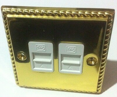Mk Telephone Socket Outlet Dual Master 446 Pob Polished Solid Brass Roped Edge